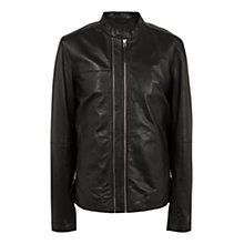 Buy Pretty Green Addison Leather Biker Jacket, Black Online at johnlewis.com