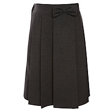 Buy John Lewis Girls' Adjustable Waist Pleated School Skirt With Bow, Grey Online at johnlewis.com