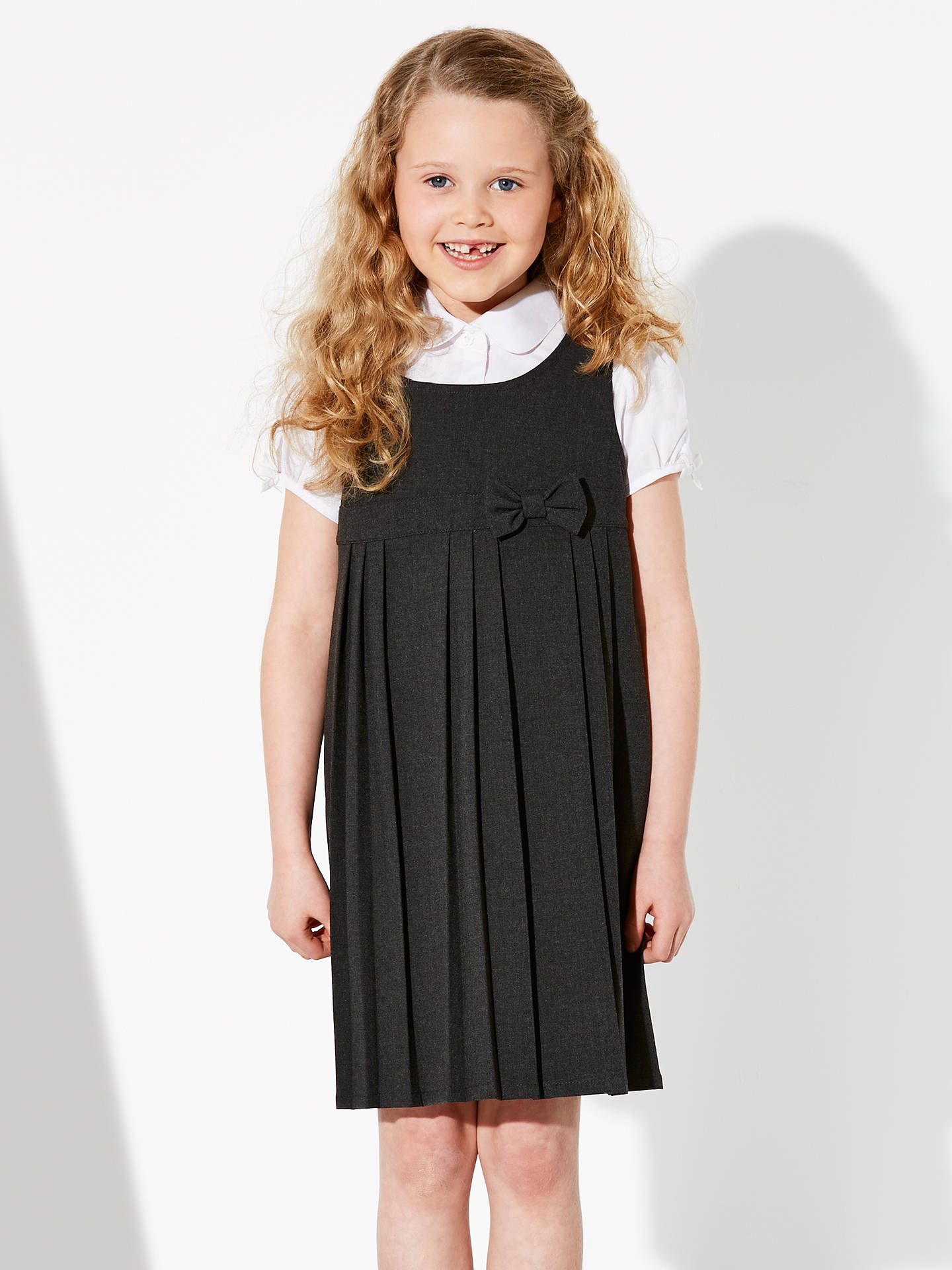 BuyJohn Lewis & Partners Girls' Pleated School Tunic With Bow, Grey, 3 years Online at johnlewis.com