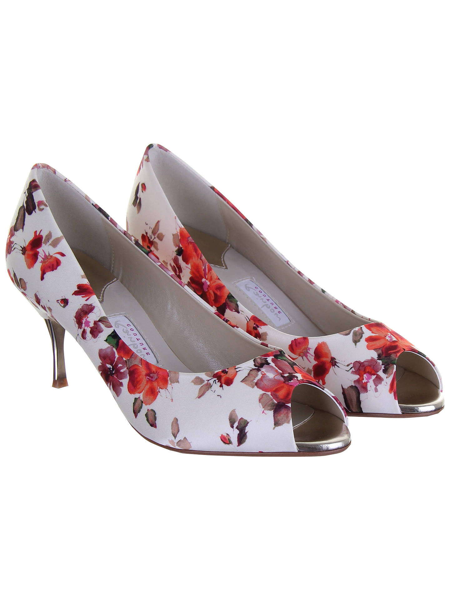 Buy Rainbow Couture Cleo Floral Print Satin Peep Toe Shoes, Multi, 5.5 Online at johnlewis.com