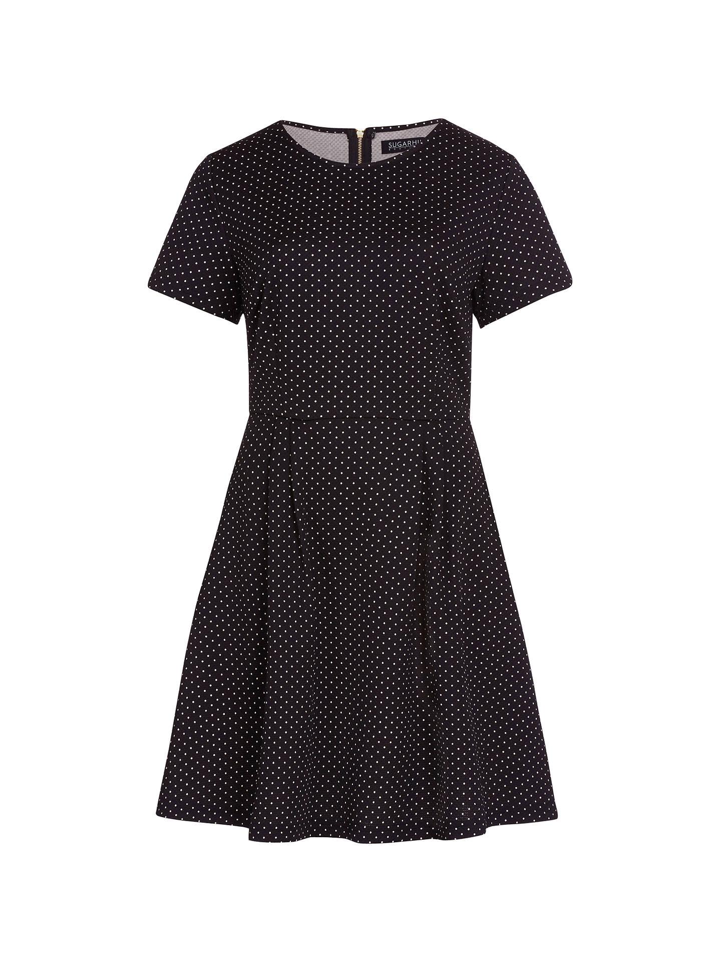 Sugarhill Boutique Irene Spot Fit And Flare Dress Black