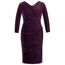 Buy Chesca Diamond Velvet Dress, Aubergine Online at johnlewis.com