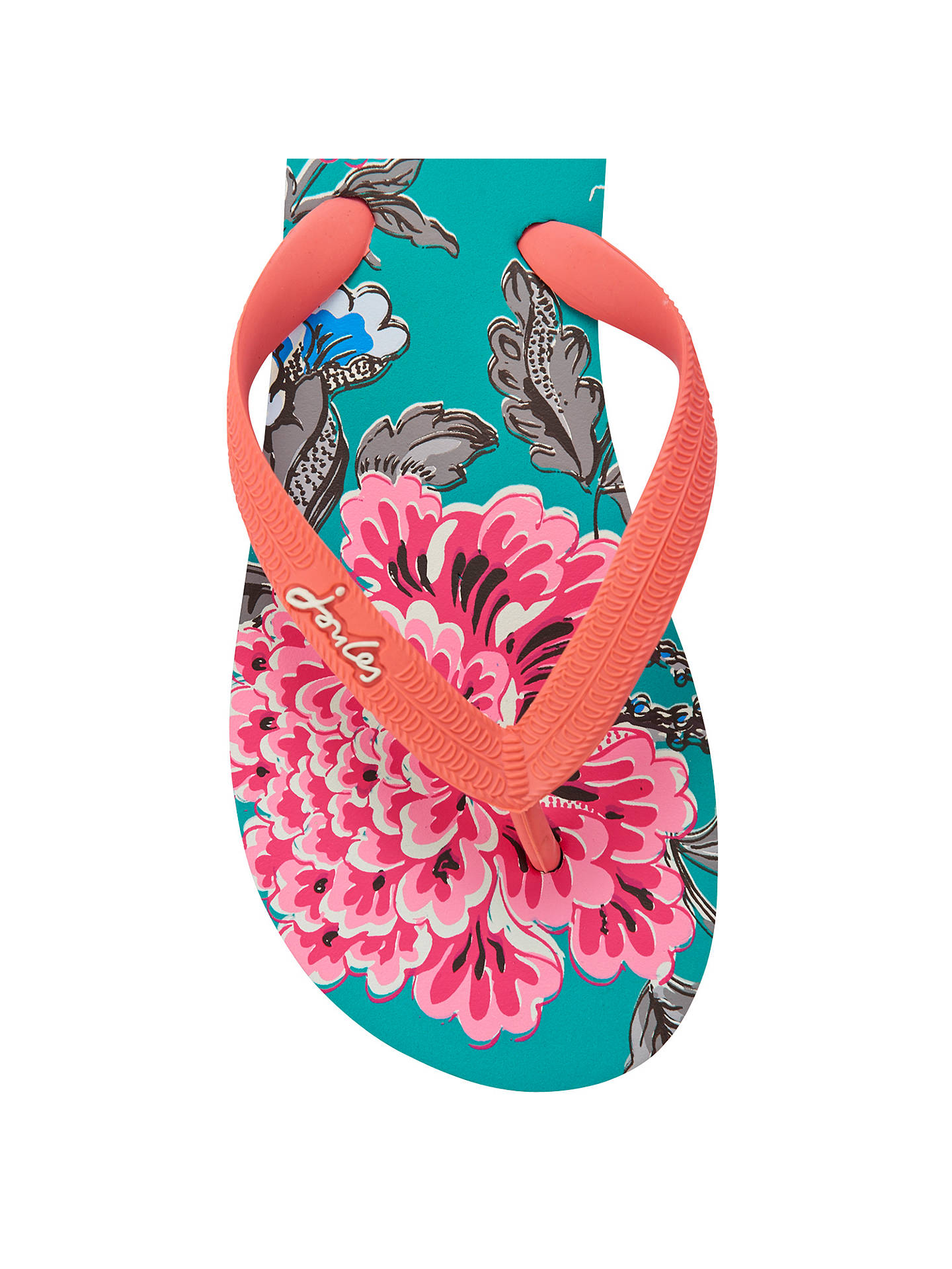 BuyJoules Jenny Rubber Flip Flops, Green Floral, 4 Online at johnlewis.com
