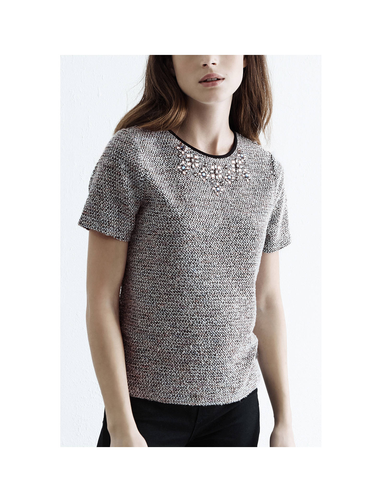 Buy Warehouse Boucle Embellished Neck Top, Light Pink, 6 Online at johnlewis.com