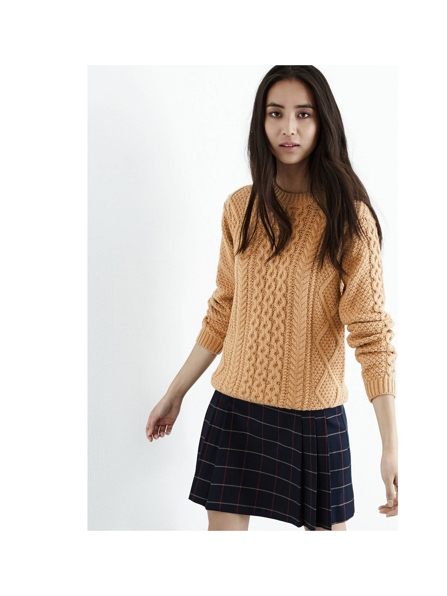 Buy Warehouse Cable Knit Jumper, Camel, 6 Online at johnlewis.com