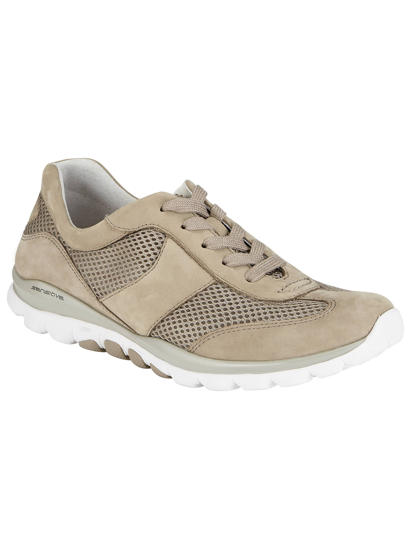 2739df605c3c3 Buy Gabor Helen Nubuck Extra Wide Fit Trainers, Beige, 3 Online at  johnlewis.
