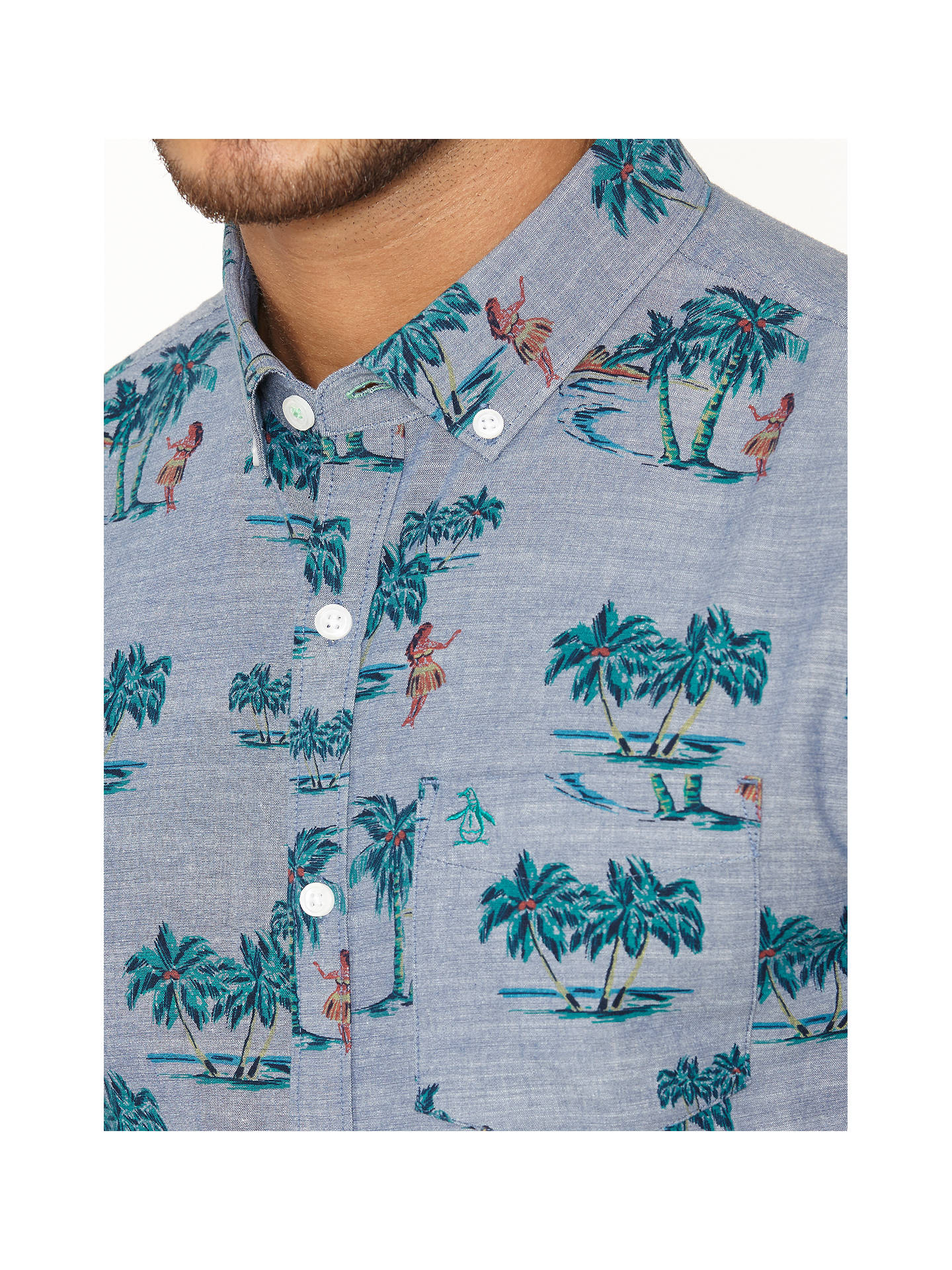 bd5d1e6d ... Buy Original Penguin Tropical Print Short Sleeve Shirt, Dress Blue, M  Online at johnlewis