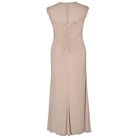 Buy Chesca Floral Beaded Maxi Dress, Champagne Online at johnlewis.com