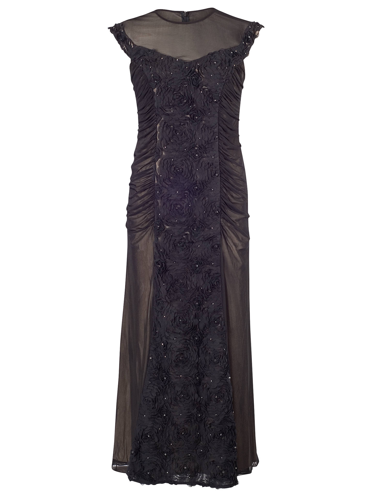 BuyChesca Floral Beaded Maxi Dress, Black, 14 Online at johnlewis.com