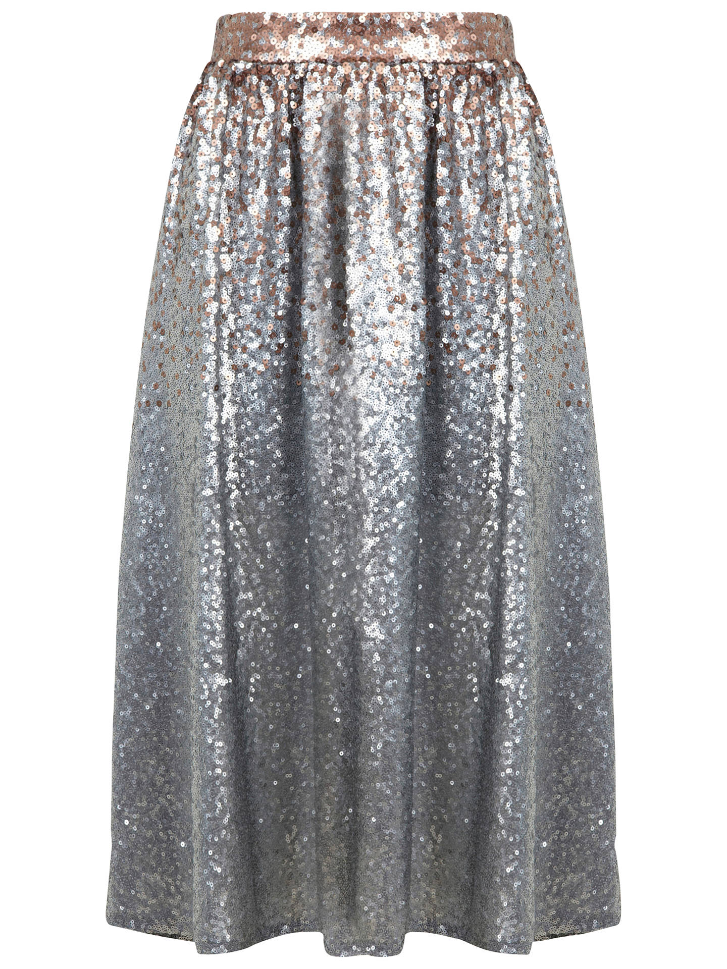 search for original clearance great deals 2017 Miss Selfridge Sequin Midi Skirt, Silver Grey at John Lewis ...