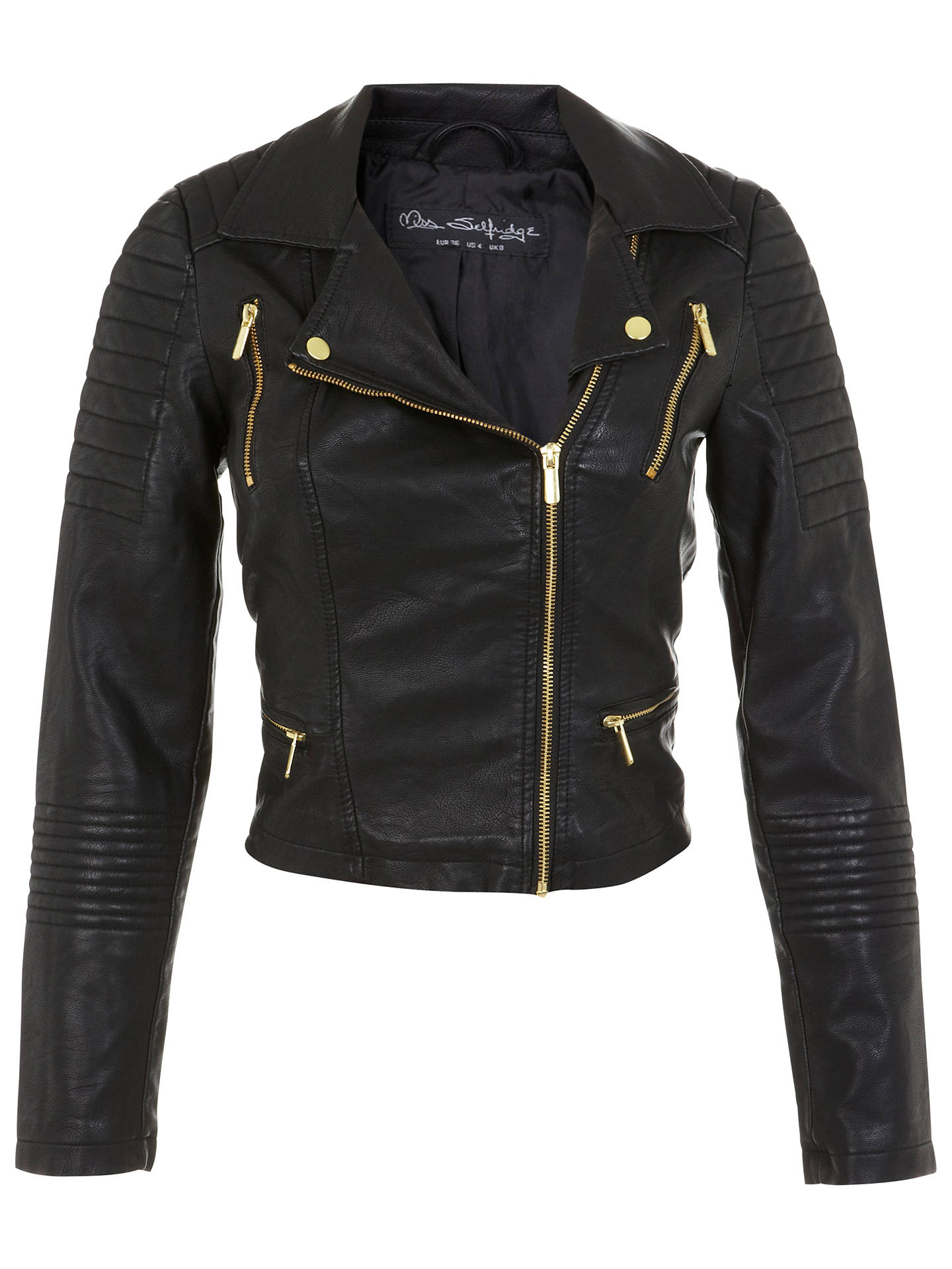 66c634d3b Miss Selfridge Crop Faux Leather Biker Jacket, Black at John Lewis ...