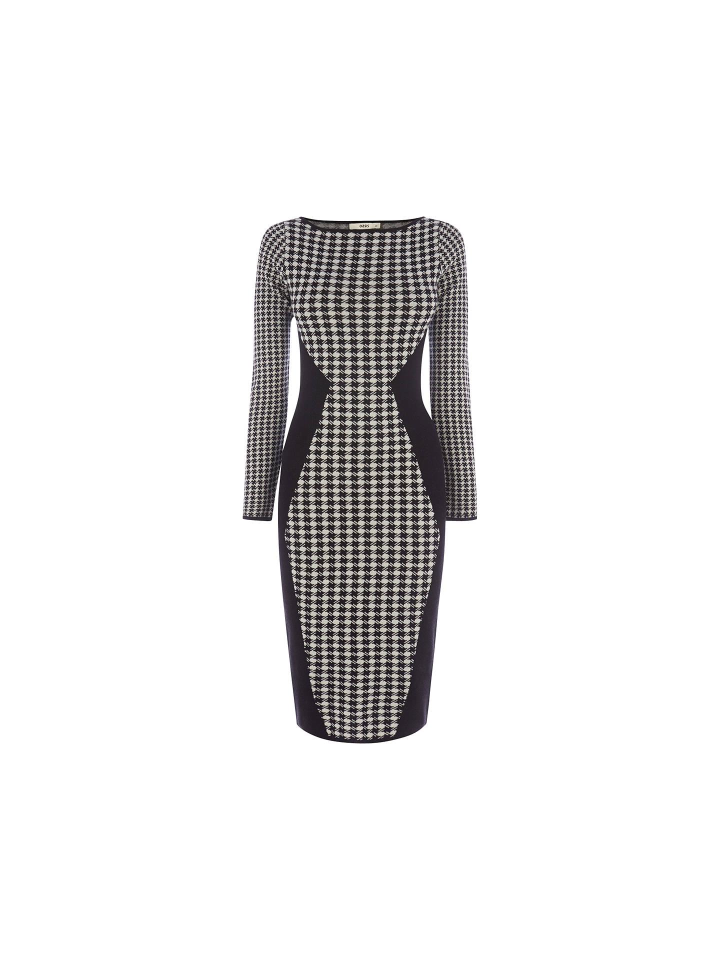detailed look buy sale pre order Oasis Dogtooth Dress, Black/White at John Lewis & Partners
