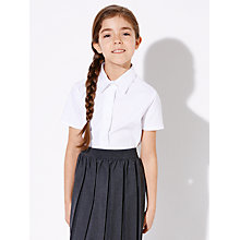 Buy John Lewis Girls' Short Sleeved Fitted Cotton Blouse, White Online at johnlewis.com