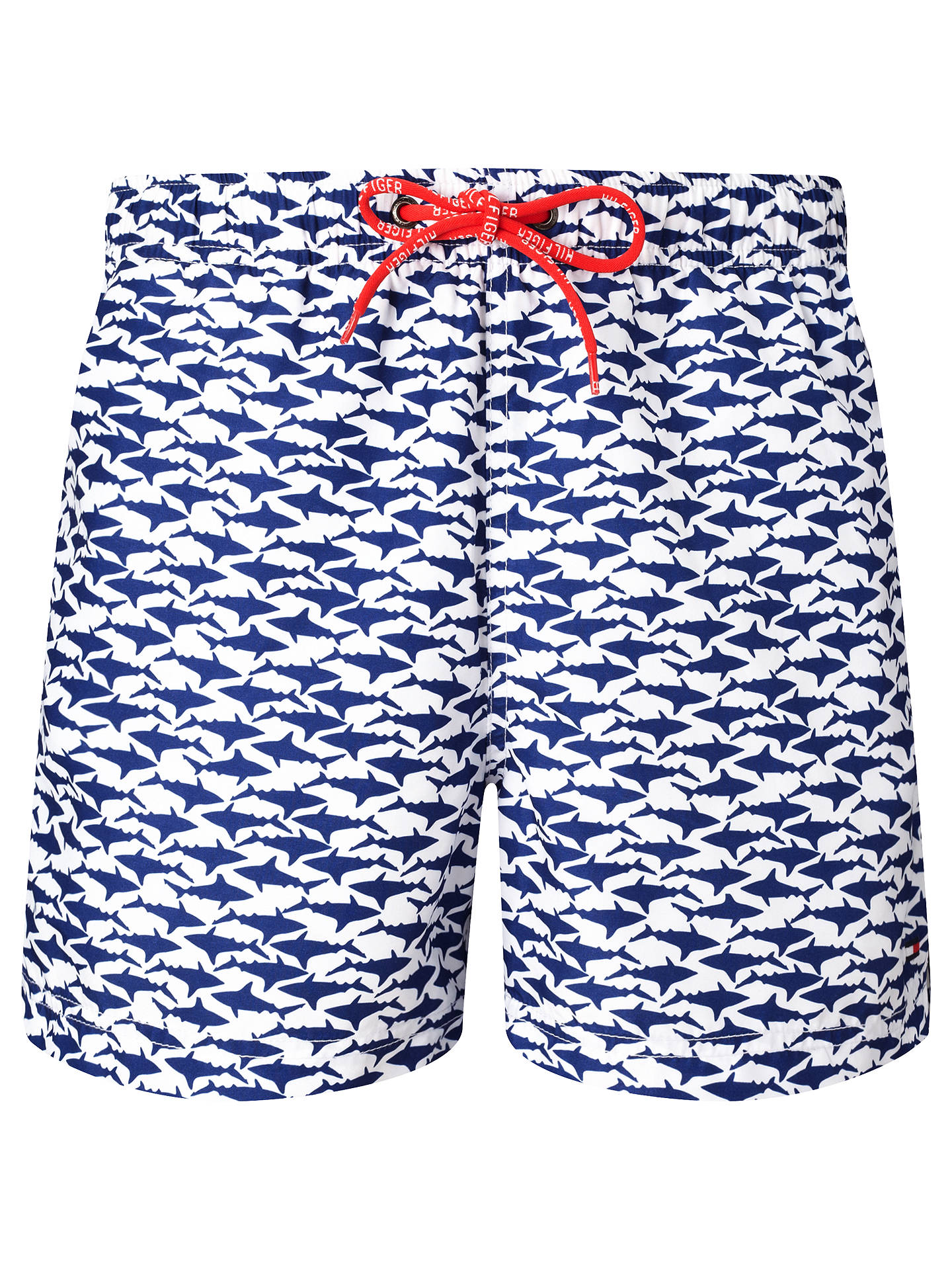 07ee7320bbe29 Buy Tommy Hilfiger Shark Print Swim Shorts, Classic White/Blue, S Online at  ...