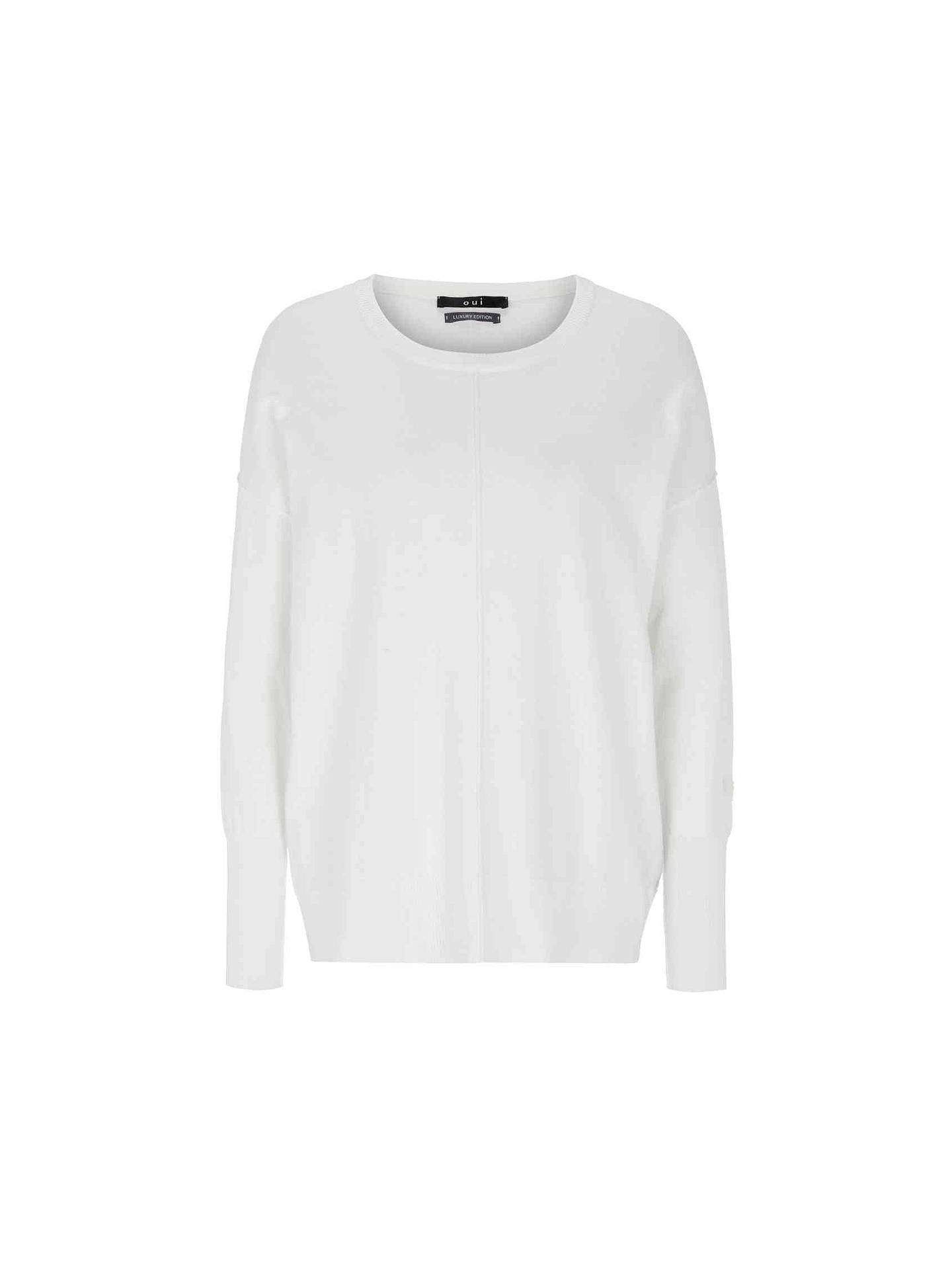 da5bad34de4204 Buy Oui Boxy Knit Jumper, White, 8 Online at johnlewis.com ...
