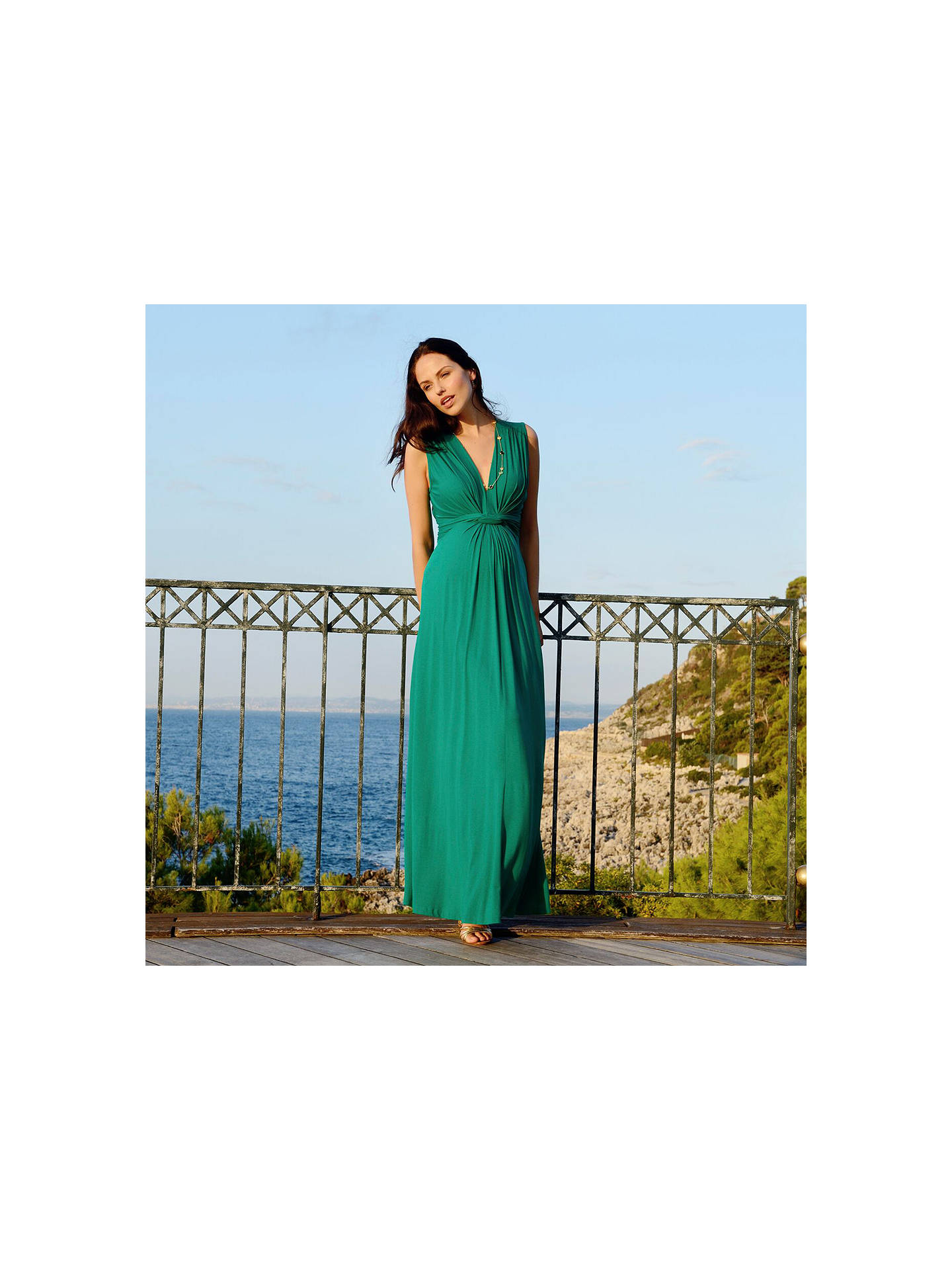 S 233 Raphine Knot Front Maxi Maternity Dress Emerald At John