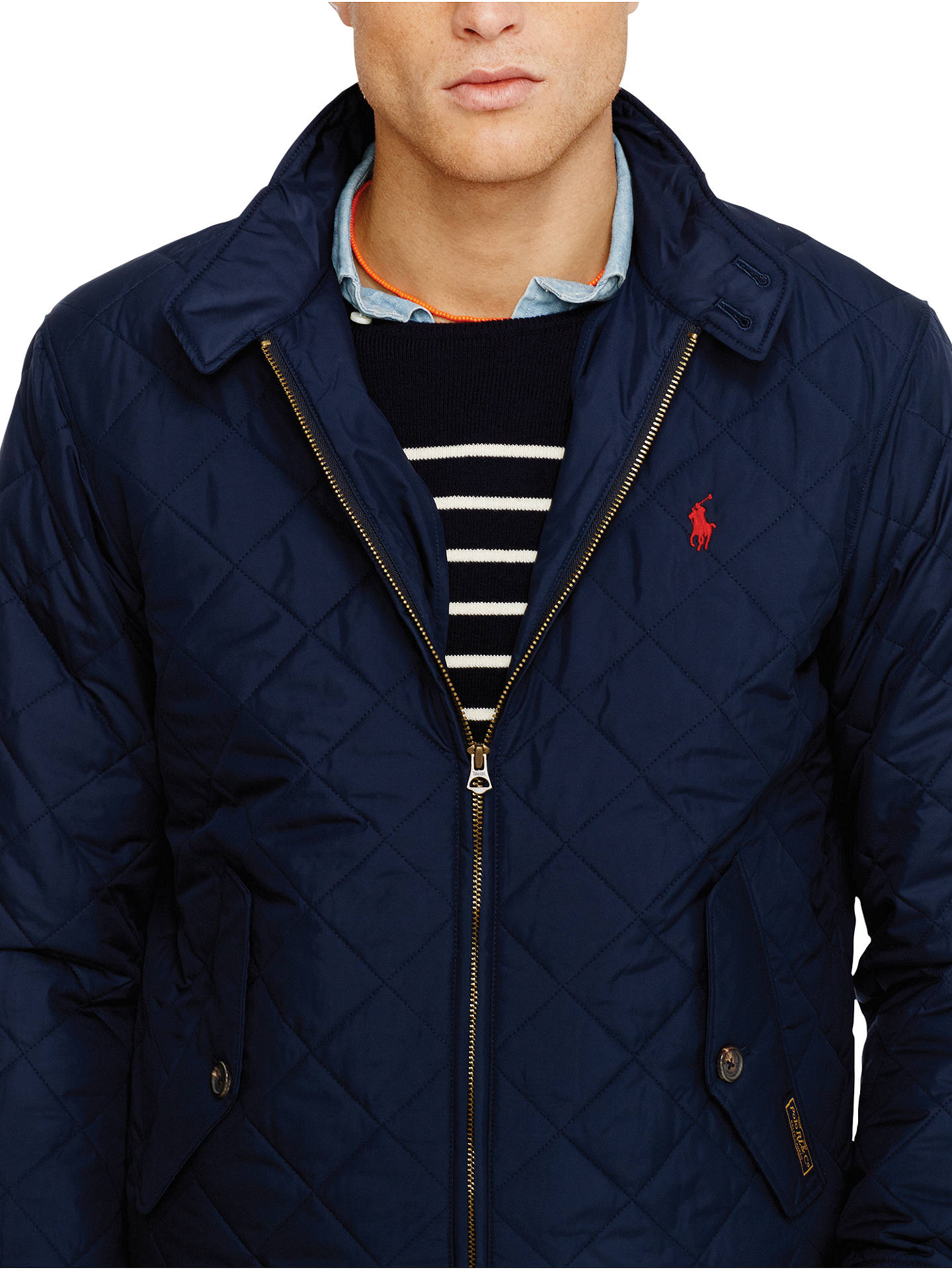 4f75e2a8 Buy Polo Ralph Lauren Quilted Barracuda Jacket, Navy, M Online at  johnlewis.com ...