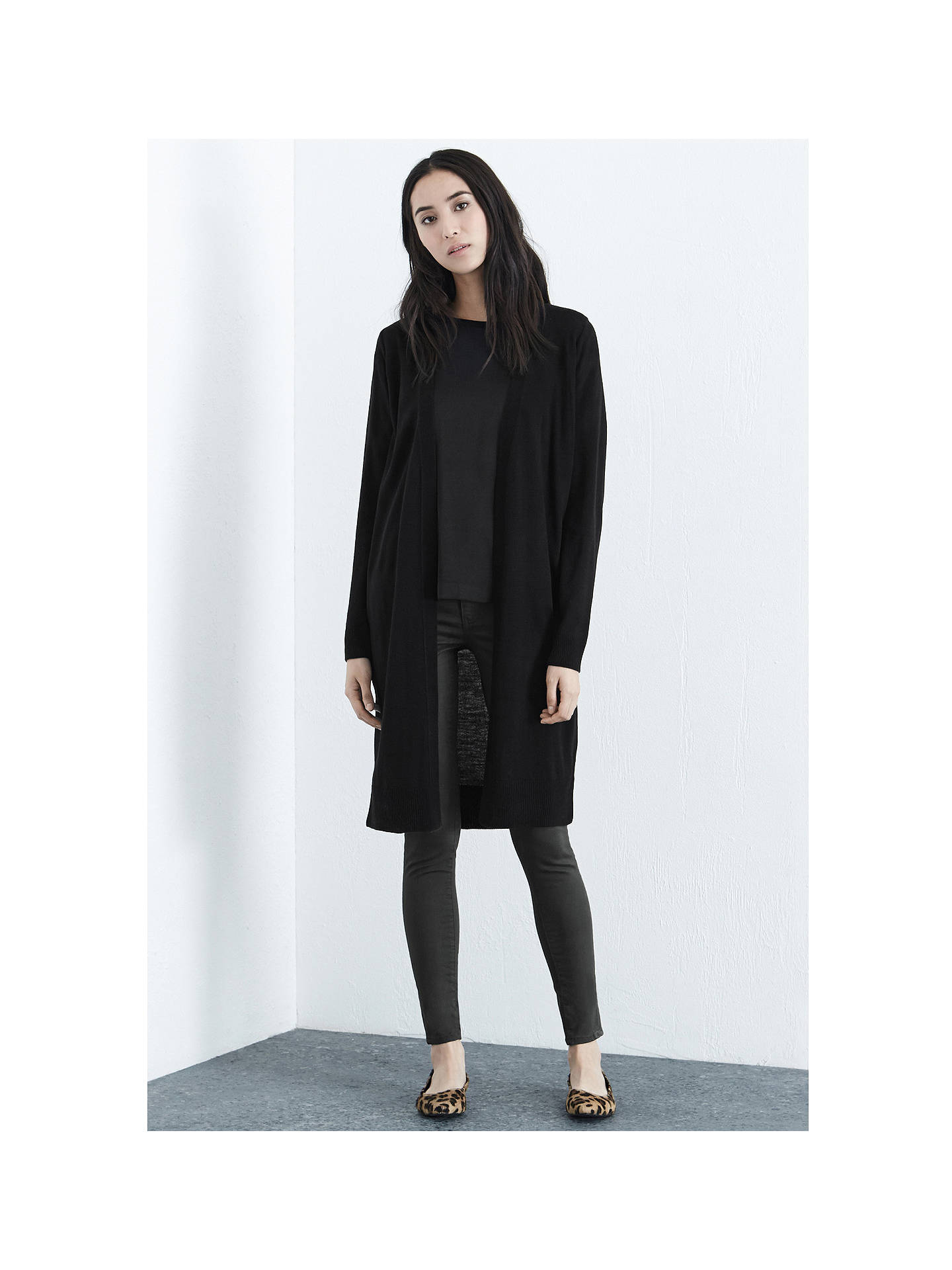 BuyWarehouse Long Cardigan, Black, 6 Online at johnlewis.com