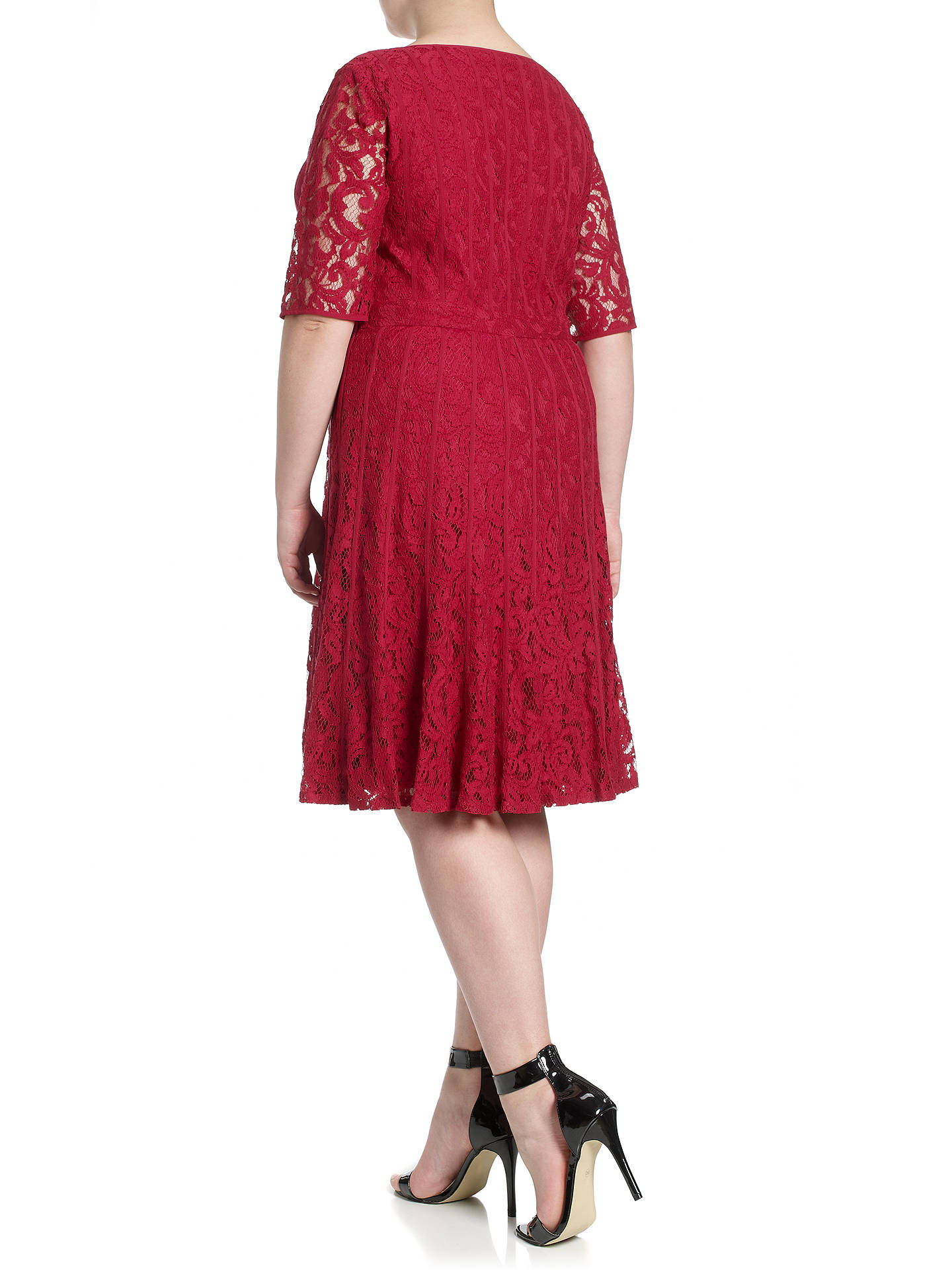 Adrianna Papell Plus Size Lace Fractured Dress Flare Red