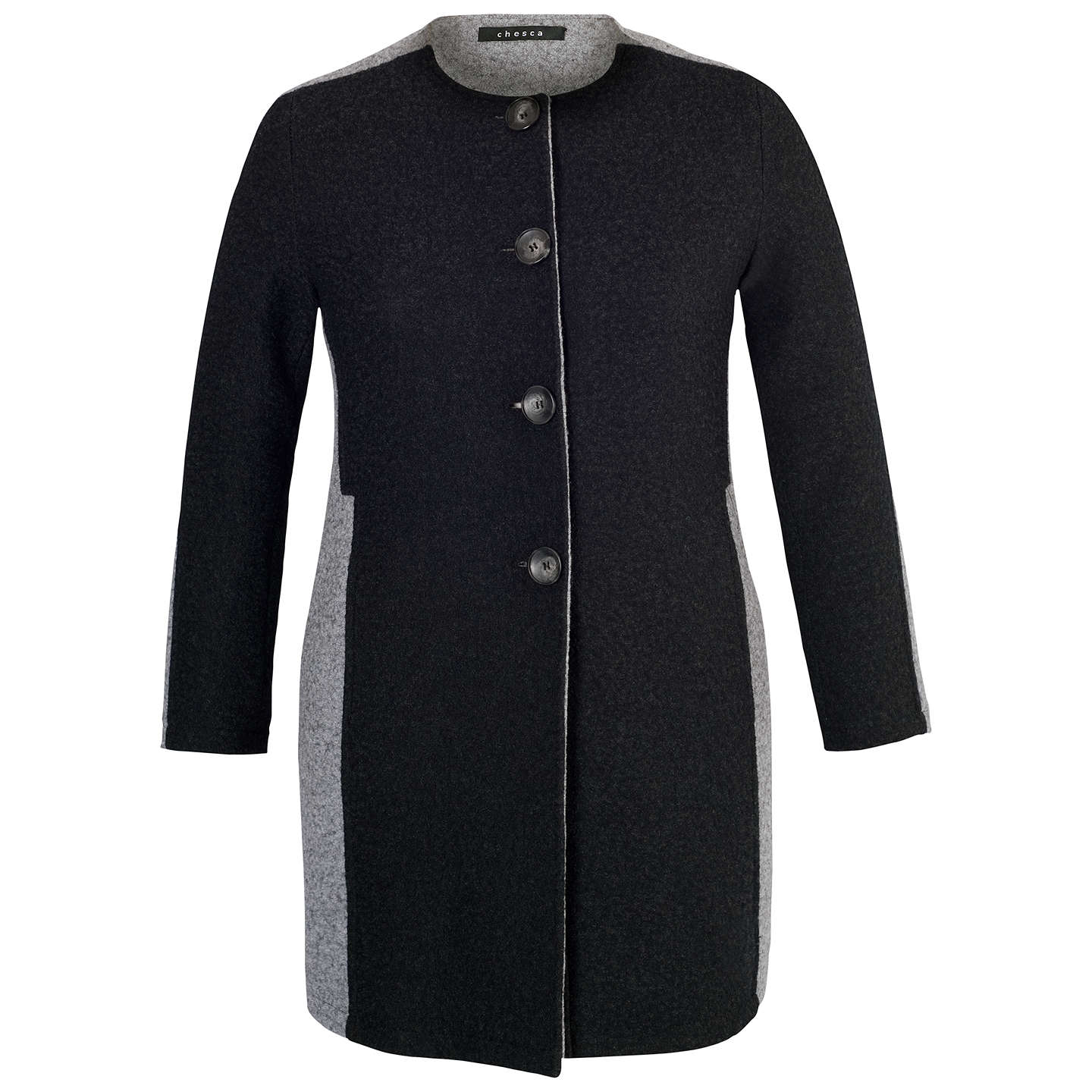 BuyChesca Collarless Coat, Charcoal, 12-14 Online at johnlewis.com