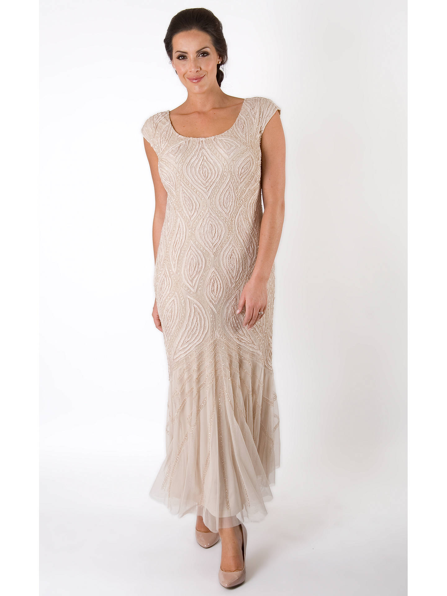 Buy Chesca Cornelli Bead Embroidered Dress, Champagne, 12 Online at johnlewis.com