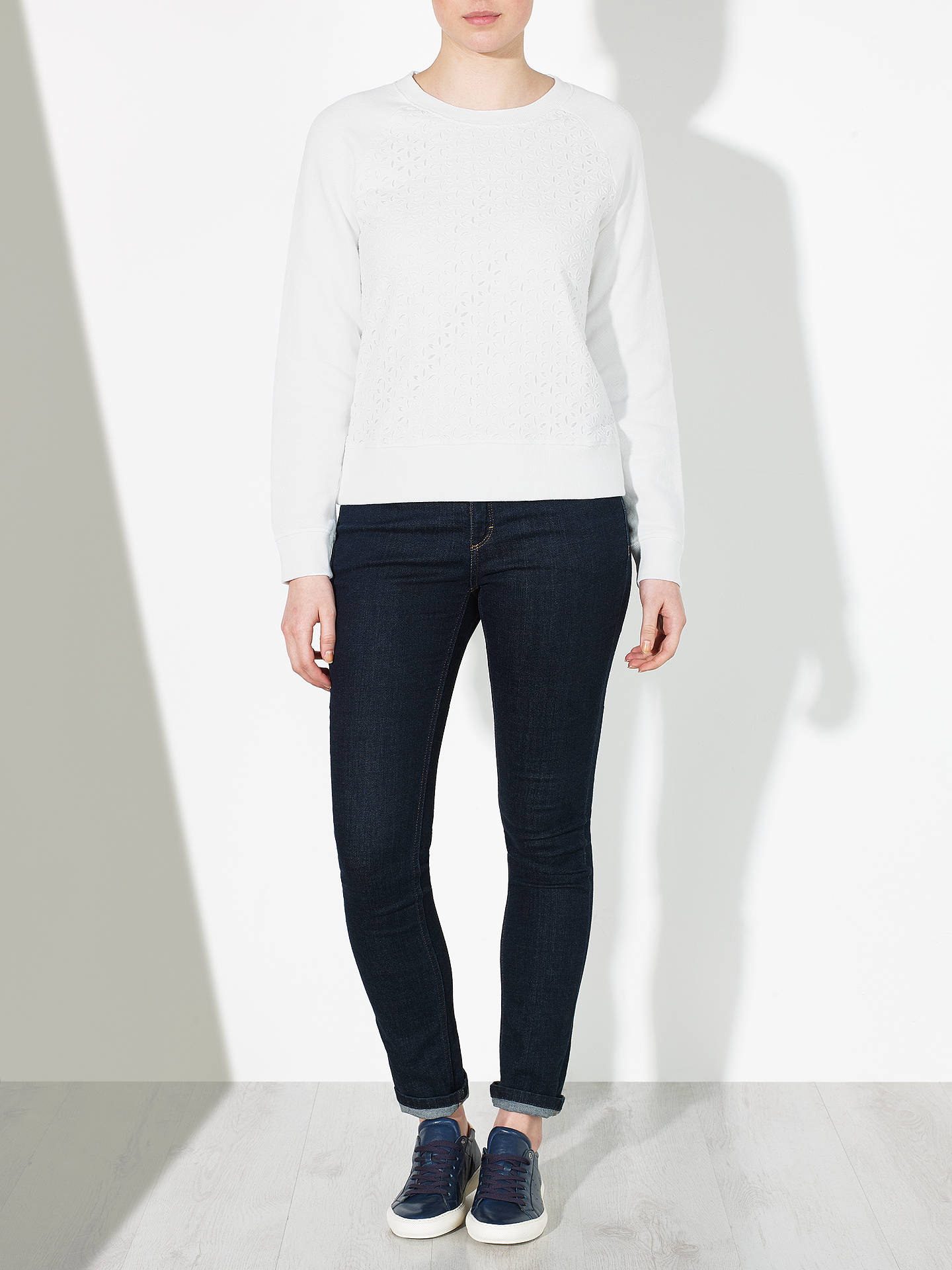 BuyCollection WEEKEND by John Lewis Broderie Front Sweatshirt, White, 8 Online at johnlewis.com