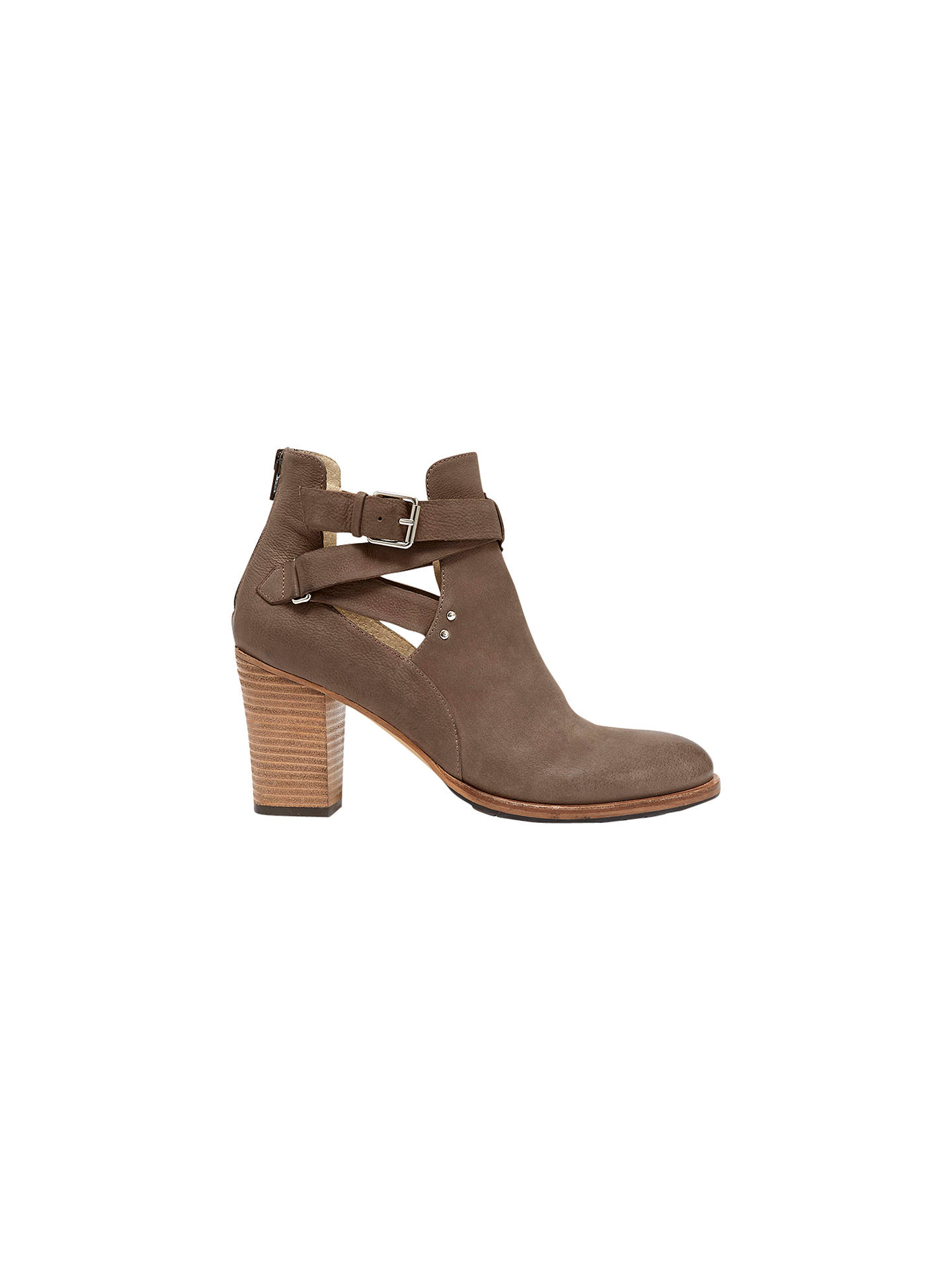 Buy Mint Velvet Davina Leather Cut Out Ankle Boots, Grey, 3 Online at johnlewis.com