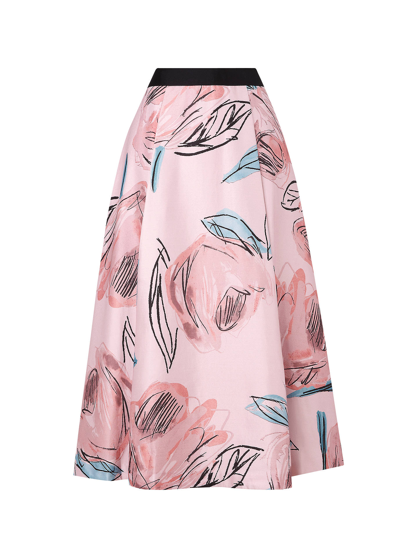 Buy L.K. Bennett Sarvi Rose Print Full Skirt, Rose, 6 Online at johnlewis.com