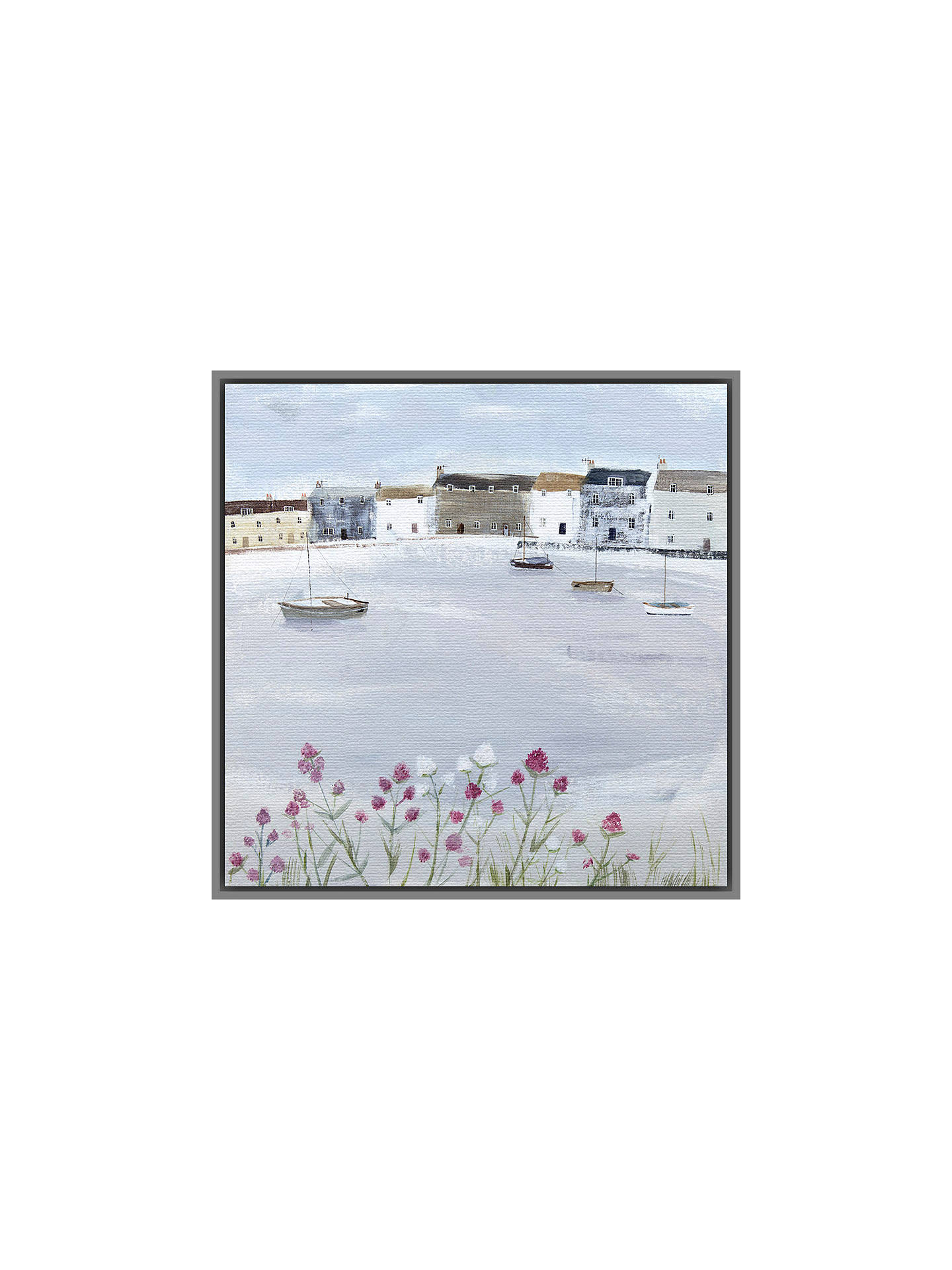 BuyHannah Cole - Quiet Moorings, Grey Framed Canvas, 40 x 40cm Online at johnlewis.com