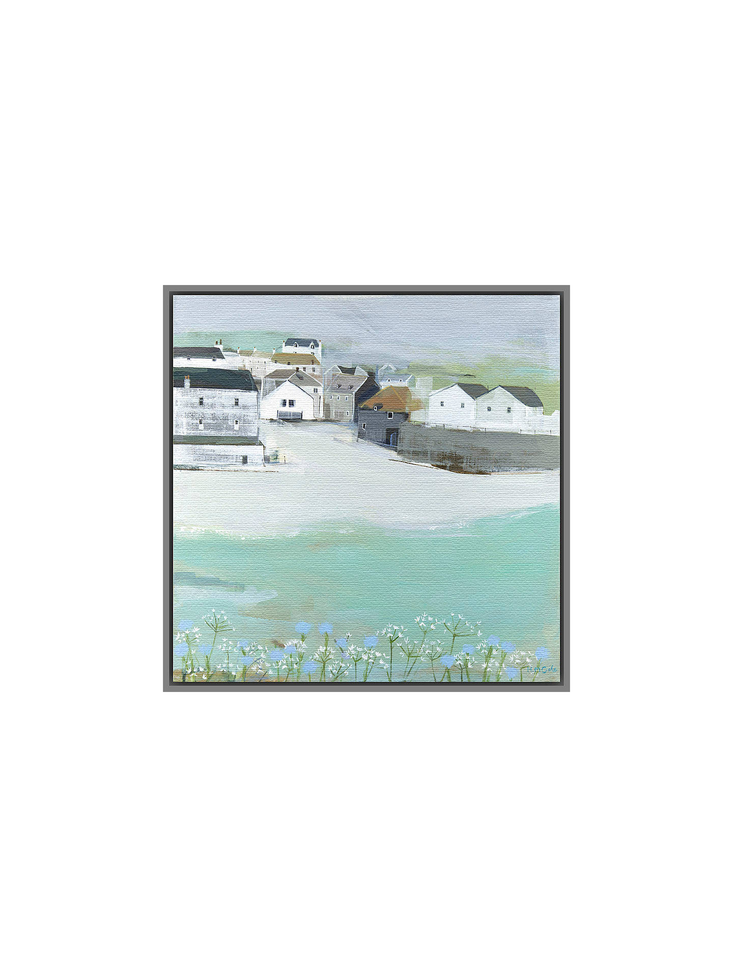 BuyHannah Cole - Wild Garlic by the Sea, Grey Framed Canvas, 40 x 40cm Online at johnlewis.com