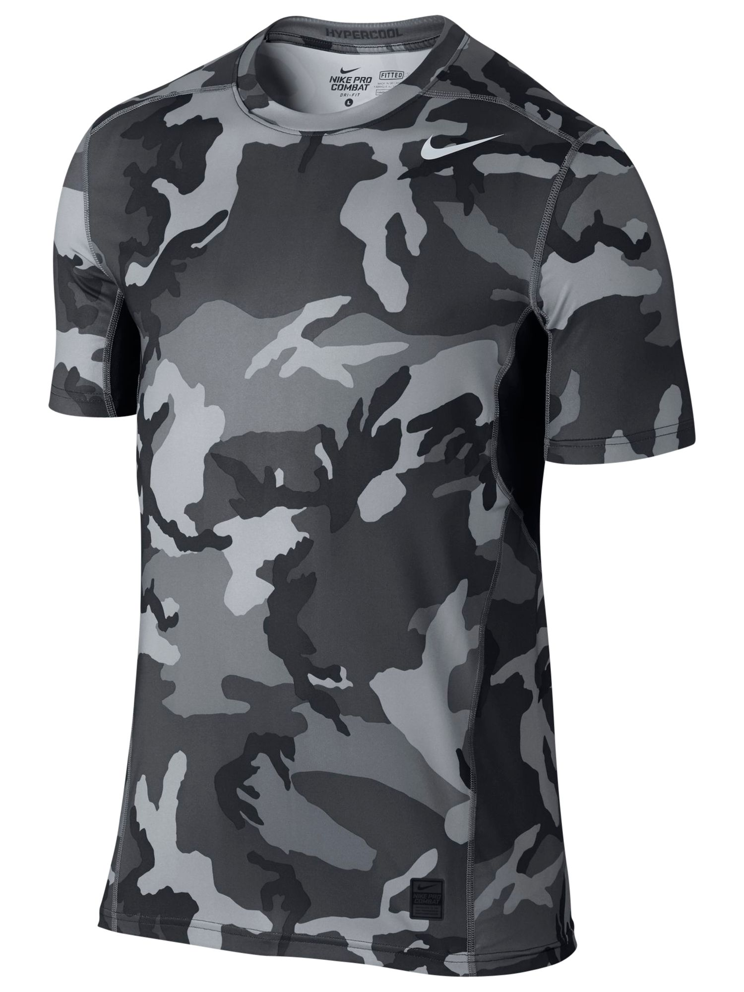 0fd992a5bc00d Nike Pro Combat Hypercool Camo Print Fitted 2.0 T-Shirt,  Anthracite/Charcoal at John Lewis & Partners