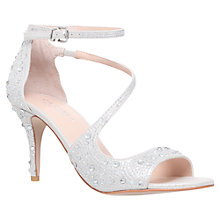 Buy Carvela Gamma Asymmetric Embellished Stiletto Sandals, Silver Suede Online at johnlewis.com