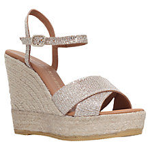Buy Kurt Geiger Amerie Platform Espadrille Wedges, Peach Online at johnlewis.com