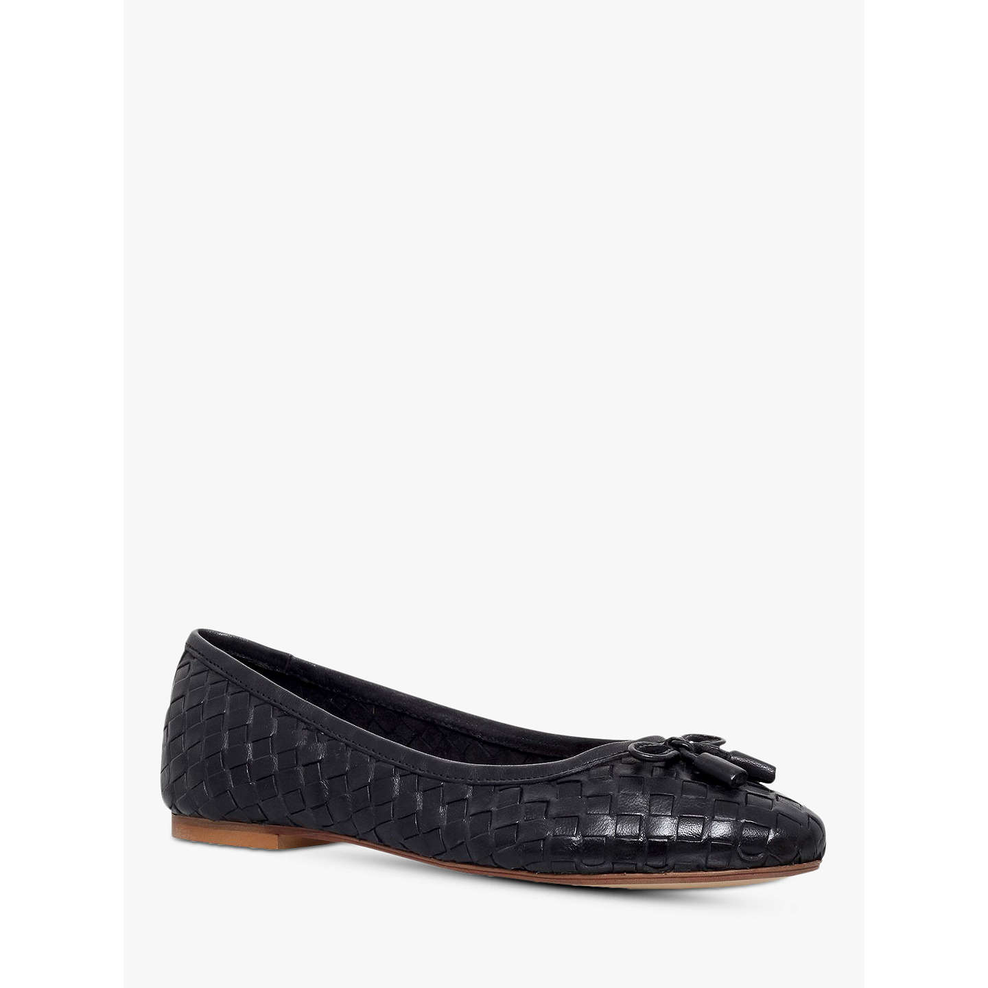 BuyCarvela Luggage Woven Leather Ballerina Pumps, Black, 3 Online at  johnlewis.com ...
