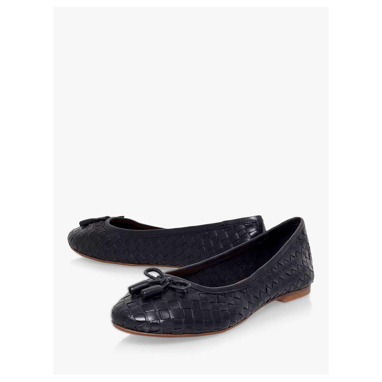 ... BuyCarvela Luggage Woven Leather Ballerina Pumps, Black, 3 Online at  johnlewis.com ...