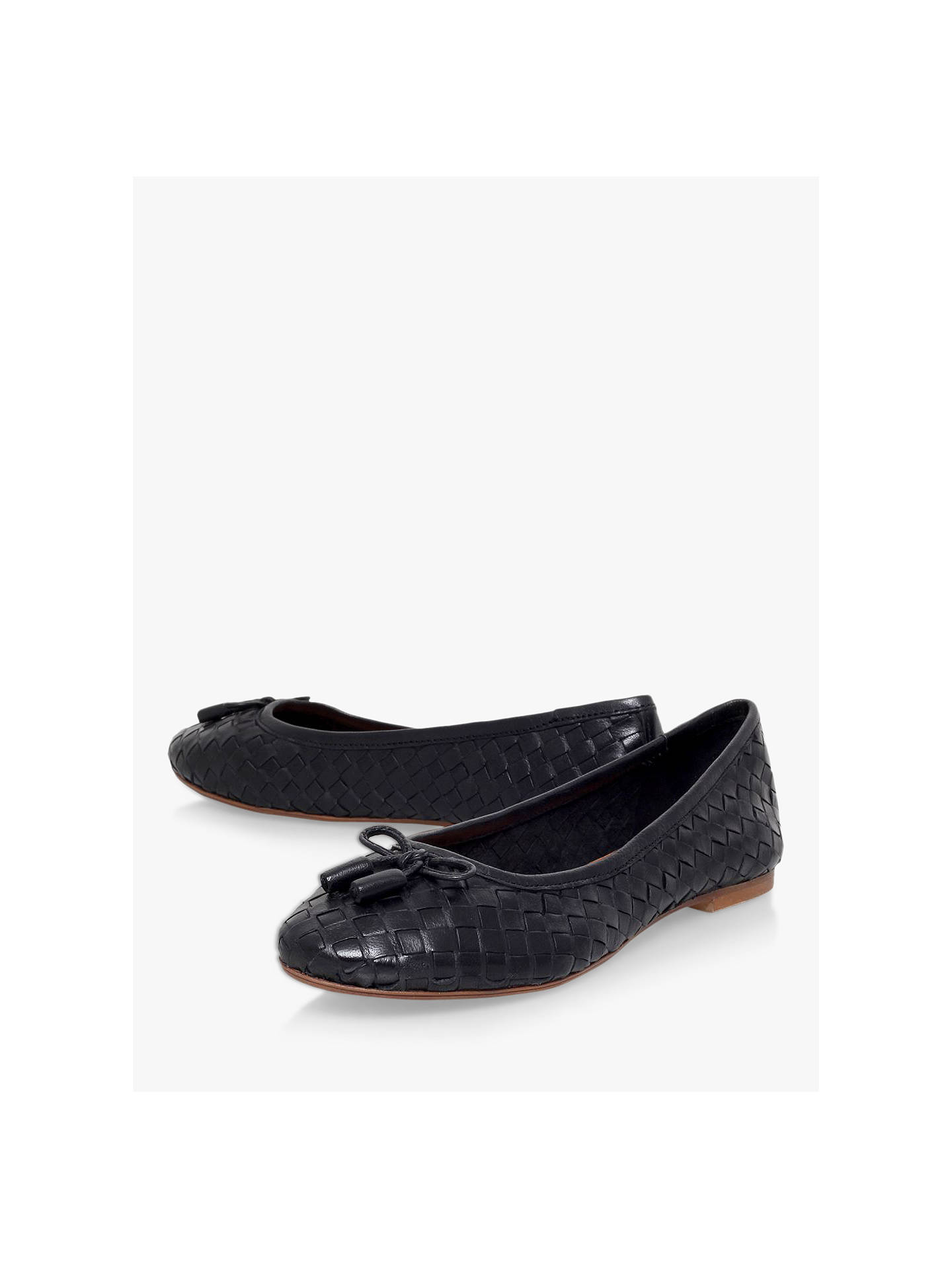 aae005f8d ... Buy Carvela Luggage Woven Ballerina Pumps, Black Leather, 3 Online at  johnlewis.com ...