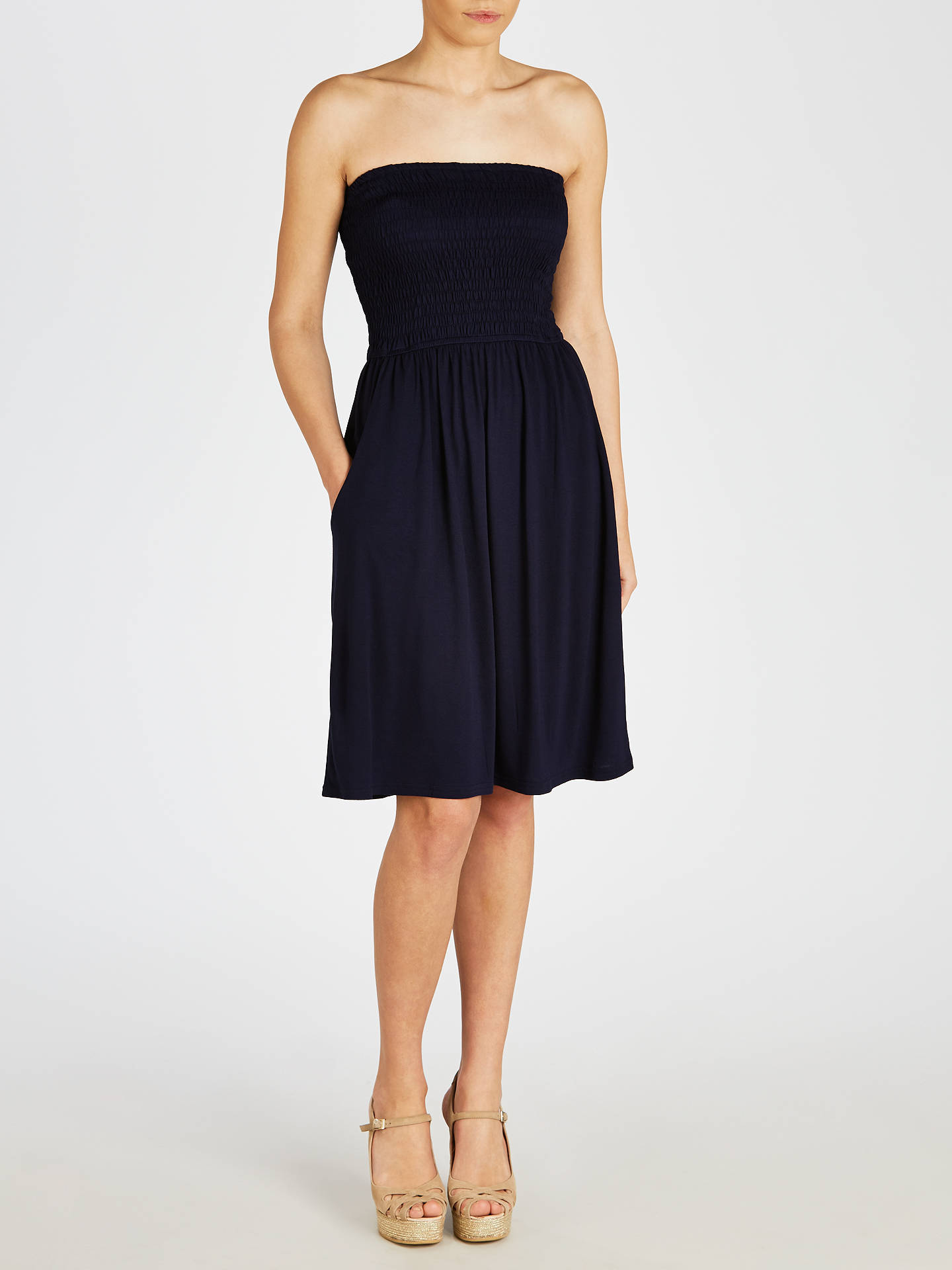 BuyJohn Lewis & Partners Jersey Bandeau Dress, Navy, S Online at johnlewis.com