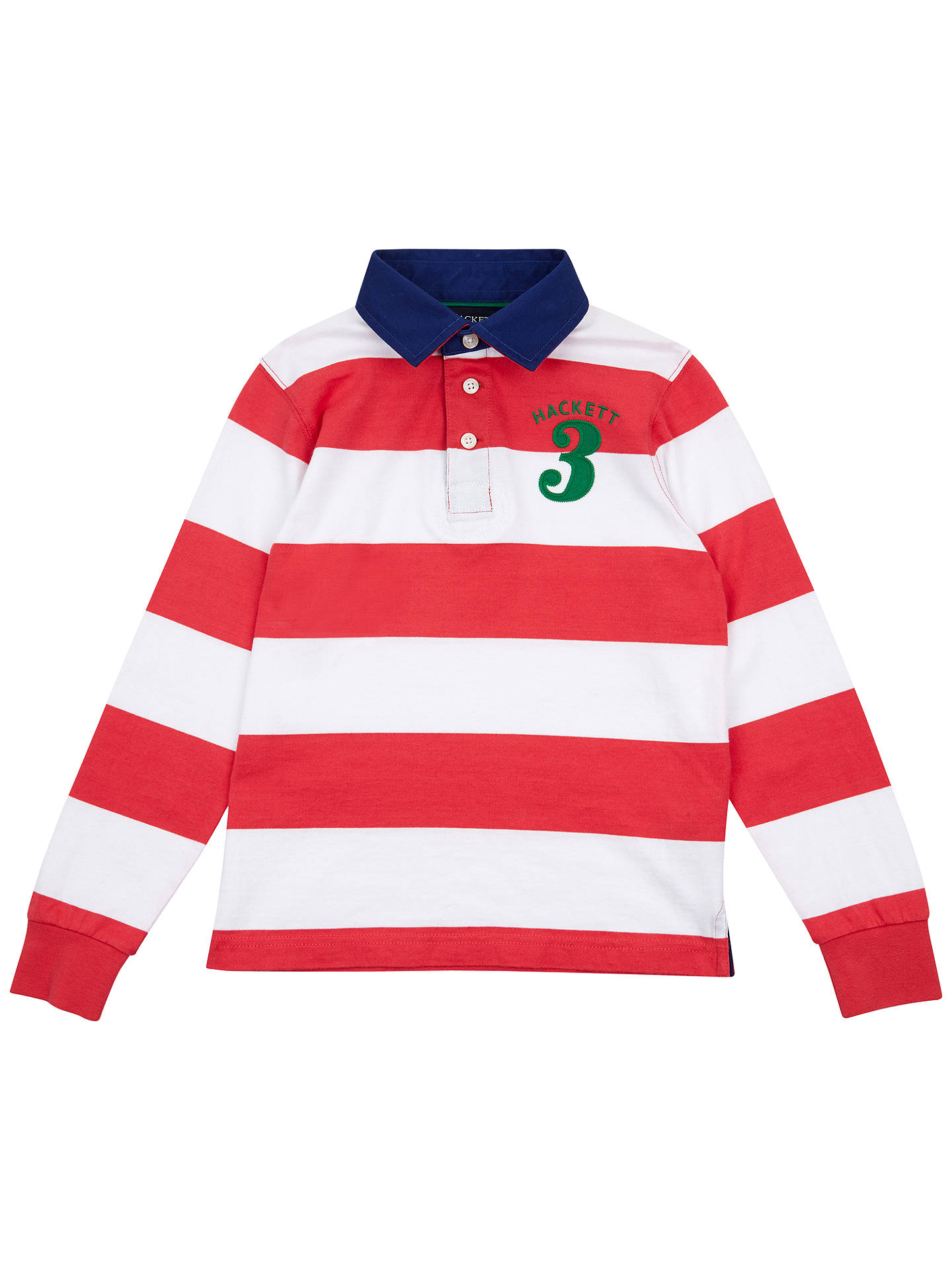 Hackett London Boys Long Sleeve Stripe Rugby Shirt Redwhite At