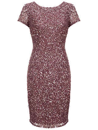 Buy Adrianna Papell Beaded Cap Sleeve Dress, Dusty Plum, 8 Online at johnlewis.com