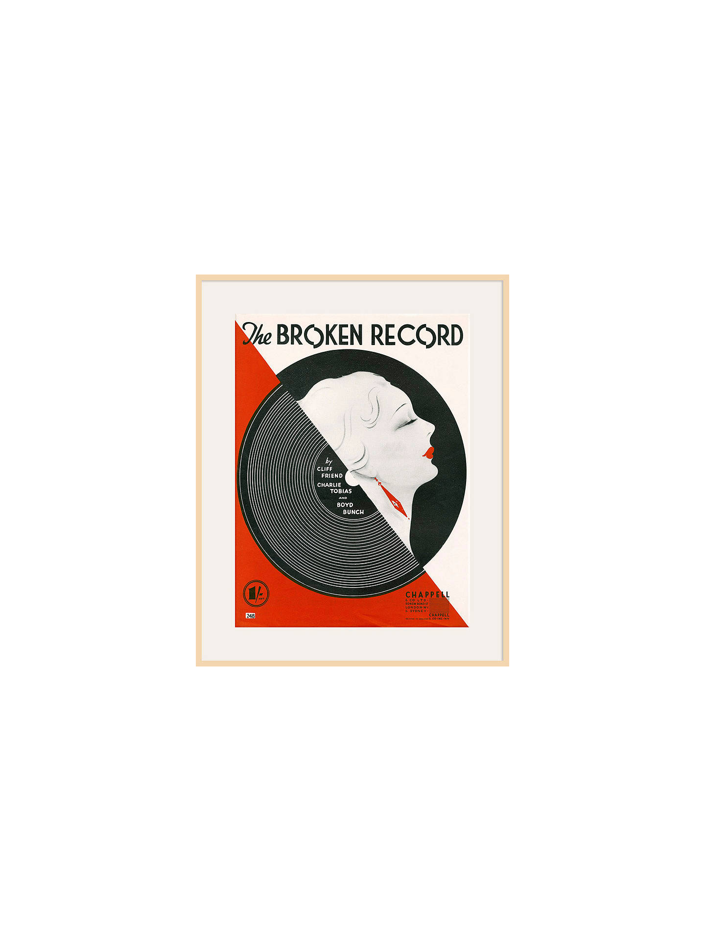 Buy Art Inspired by Music - Broken Record, Natural Frame, 80 x 60cm Online at johnlewis.com