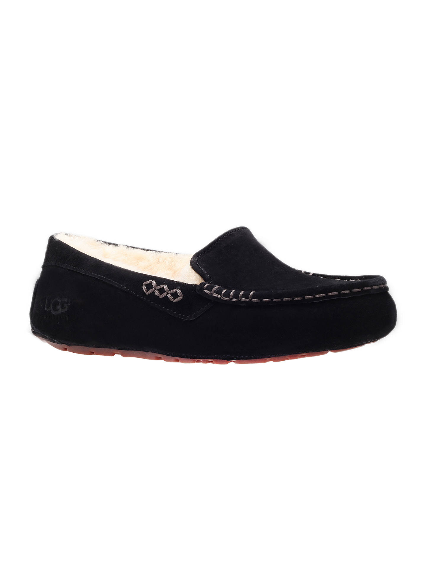 f35ec2abdf9 UGG Ansley Suede Slippers, Black at John Lewis & Partners