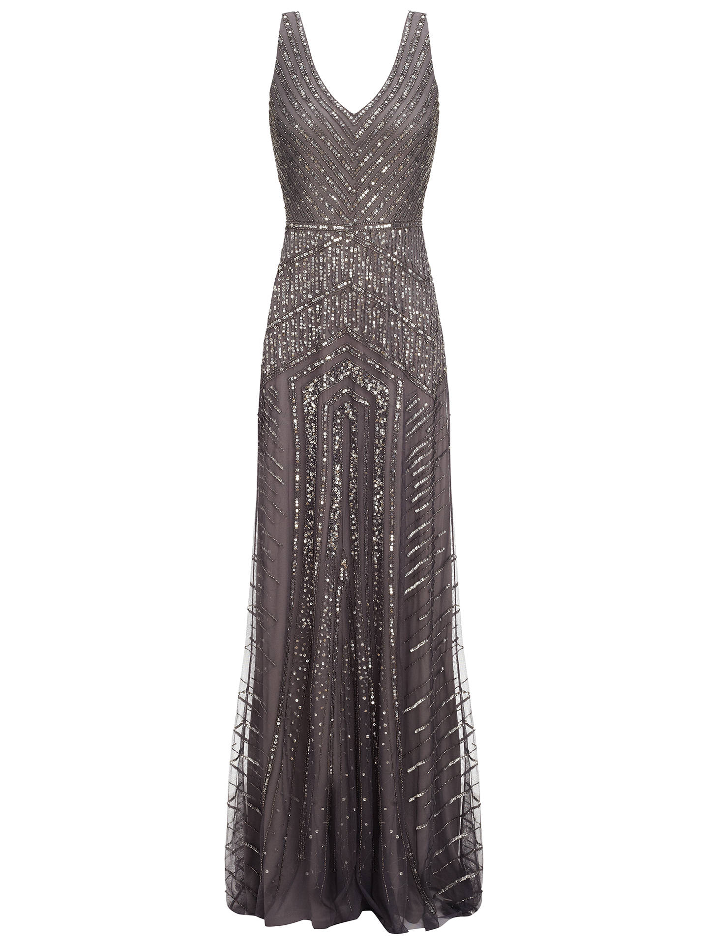 0c6d8cae46d078 Buy Adrianna Papell Long Beaded Gown, Gunmetal, 8 Online at johnlewis.com  ...