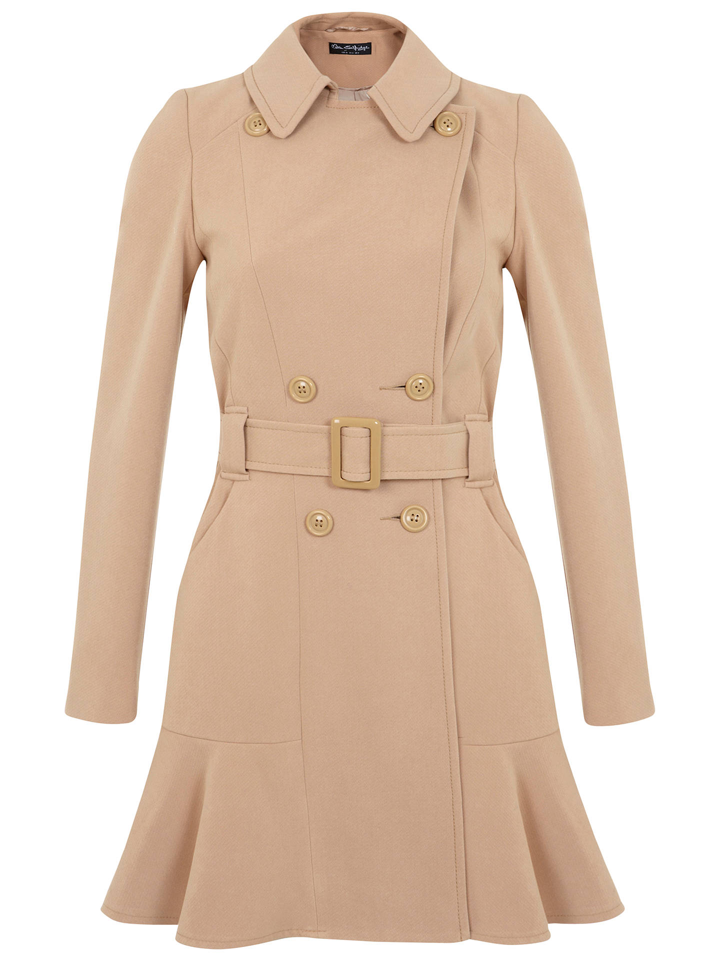 Buy Miss Selfridge Peplum Hem Coat, Camel, 6 Online at johnlewis.com