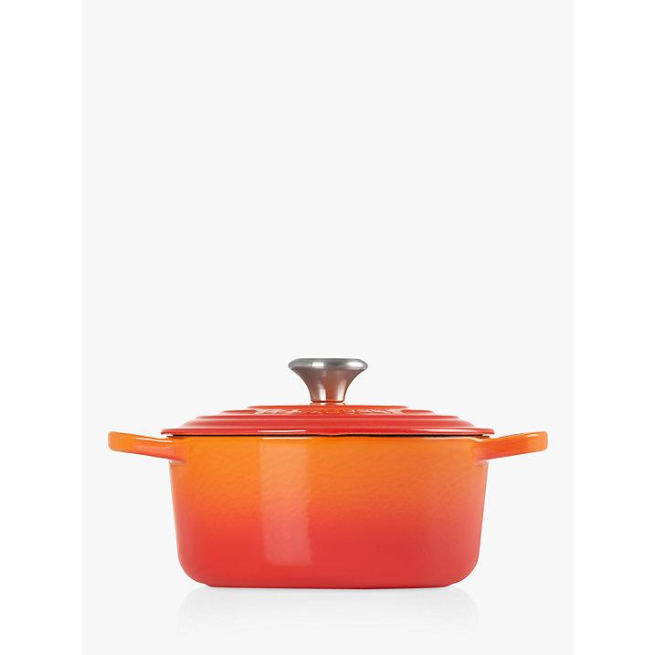 Buy Le Creuset Signature Cast Iron Round Casserole, Volcanic, Dia.18cm Online at johnlewis.com