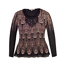 Buy Chesca Macrane Trim Printed Crush Pleat Top, Beige Online at johnlewis.com