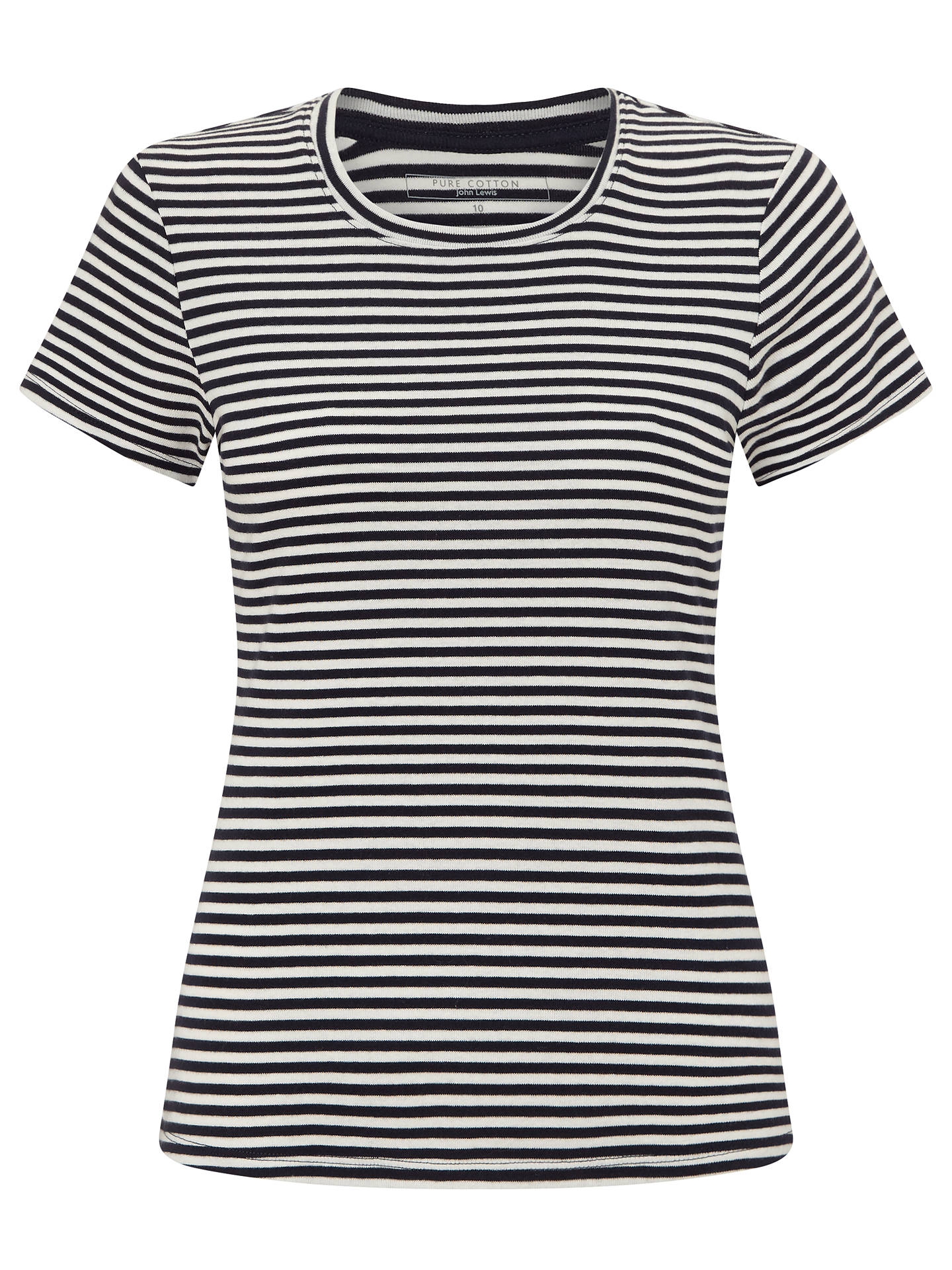 Buy John Lewis Crew Neck Stripe T-Shirt, White/Navy Stripe, 8 Online at johnlewis.com