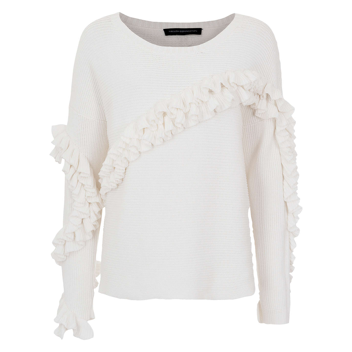 BuyFrench Connection Ruth Frill Cotton Jumper, Summer White, XS Online at johnlewis.com