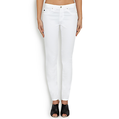 AG The Prima Mid Rise Skinny Jeans, White