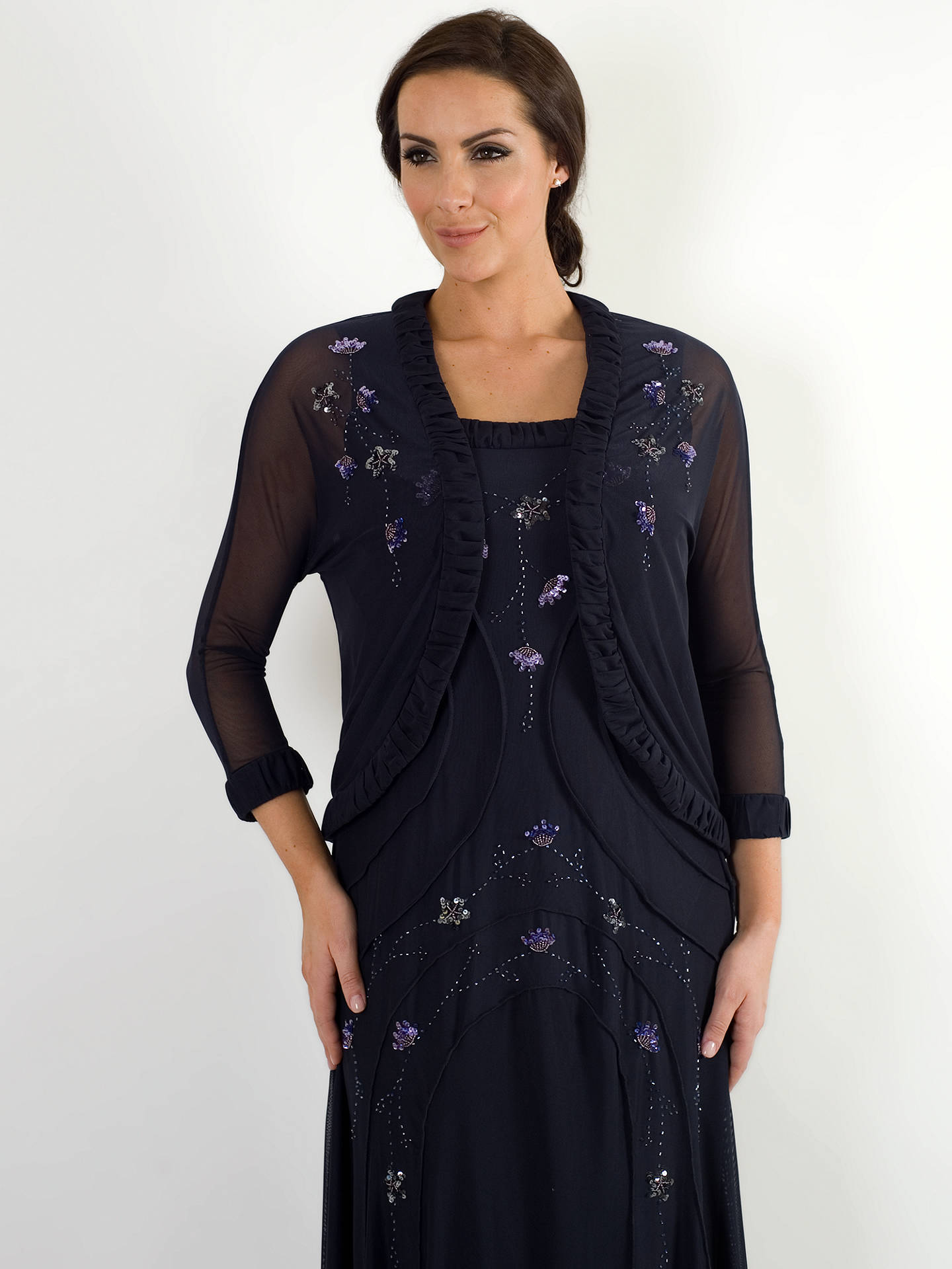 Buy Chesca Ruched Trim Bolero, Navy, 18 Online at johnlewis.com