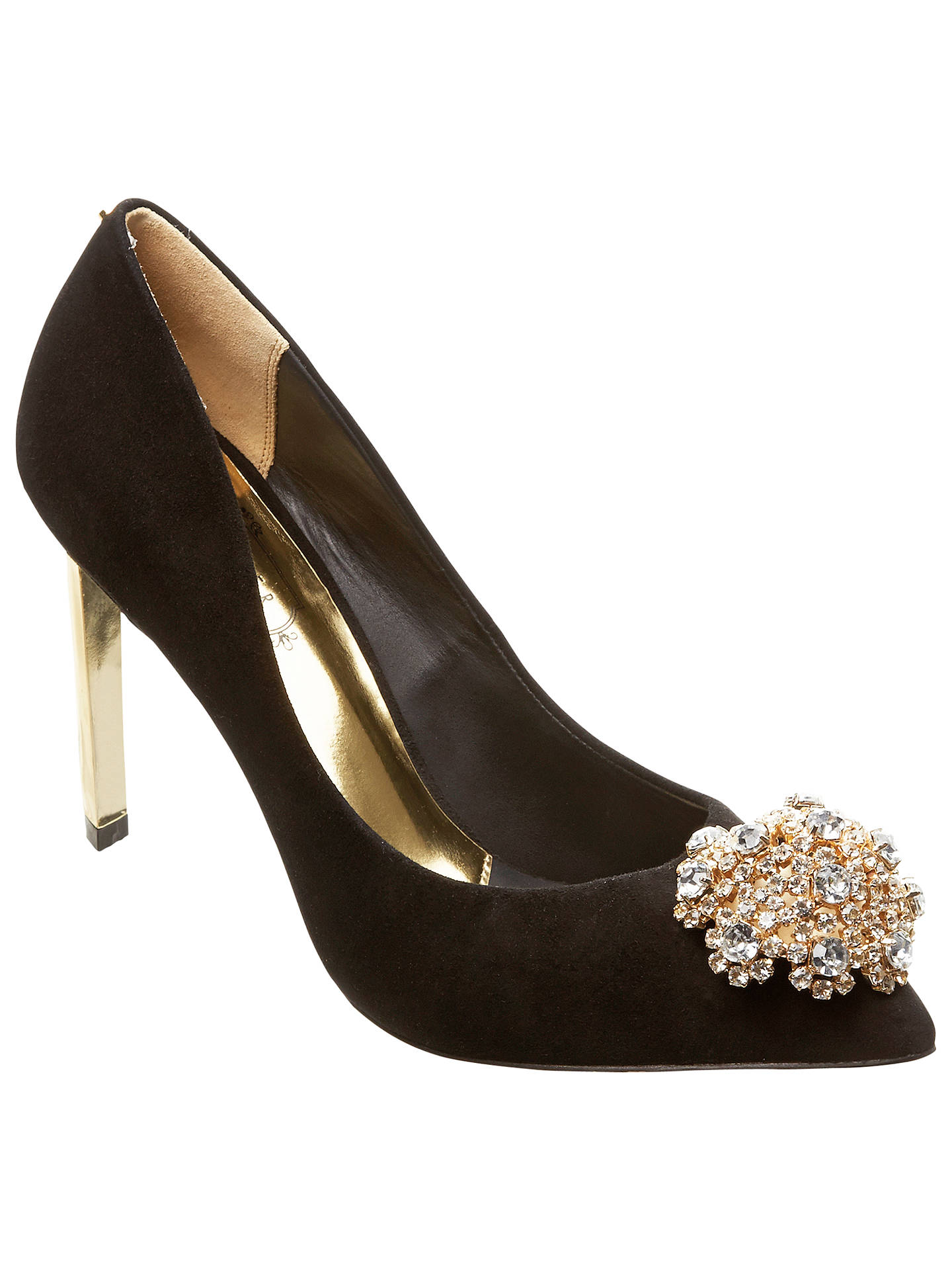 6872b3a3082a4c Buy Ted Baker Tie the Knot Peetch Court Shoes, Black Suede, 4 Online at ...